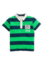 Jersey polo shirt - Dark blue/Green striped -  | H&M CA 2