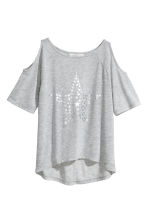 Cold shoulder top - Grey marl/Star - Kids | H&M CN 2