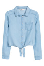 Lyocell tie-front shirt - Light blue - Kids | H&M CN 2