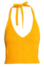 Knitted halterneck top - Mustard yellow - Ladies | H&M 2