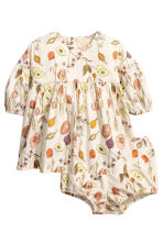 Dress with puff pants - Light beige/Pattern - Kids | H&M CN 1