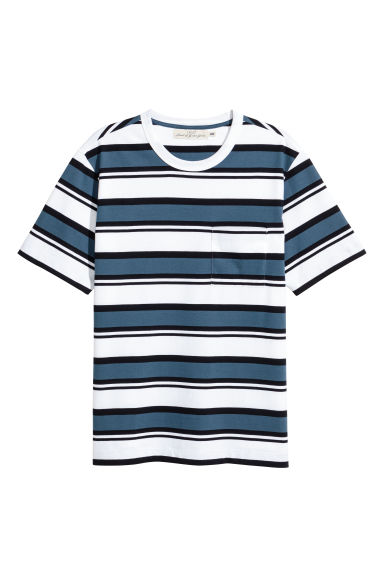 T-shirt - White/Blue striped - Men | H&M CN 1