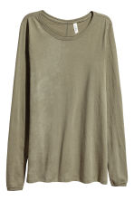 Long-sleeved top - Khaki green -  | H&M 2