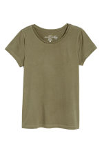 Short-sleeved top - Khaki green - Ladies | H&M CN 2