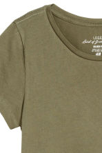 Short-sleeved top - Khaki green - Ladies | H&M CN 3