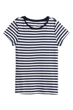 Short-sleeved top - Dark blue/Striped - Ladies | H&M CN 2