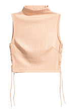 Cropped top with lacing - Powder beige -  | H&M 2