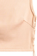 Cropped top with lacing - Powder beige -  | H&M CA 3