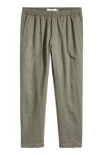 Linen-blend trousers - Khaki green - Men | H&M CA 2