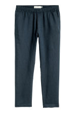Linen-blend trousers - Dark blue - Men | H&M 2