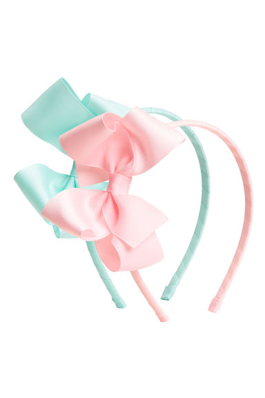 2-pack Alice bands with a bow - Mint - Kids | H&M 1
