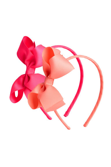 2-pack Alice bands with a bow - Neon pink - Kids | H&M 1