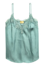Satin strappy top with lace - Dusky green - Ladies | H&M 2
