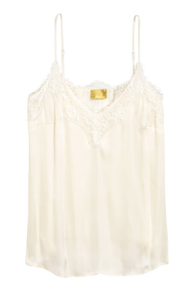 Satin strappy top with lace - Natural white - Ladies | H&M CN