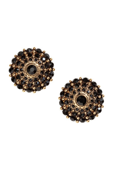 Round sparkly earrings - Gold/Black - Ladies | H&M CN 1