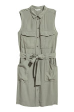 Sleeveless shirt dress - Light khaki - Ladies | H&M CN 2