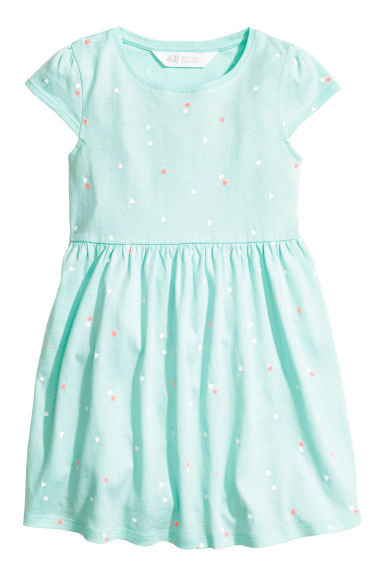 平紋洋裝 - Mint green/Heart -  | H&M 1