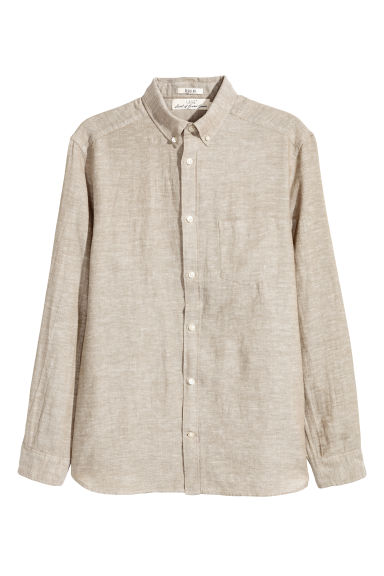 Linen-blend shirt Regular fit - Beige -  | H&M