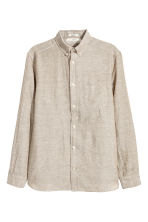 Linen-blend shirt Regular fit - Beige - Men | H&M 1