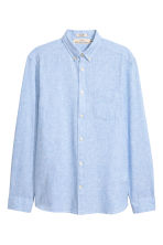Linen-blend shirt Regular fit - Light blue -  | H&M CN 2