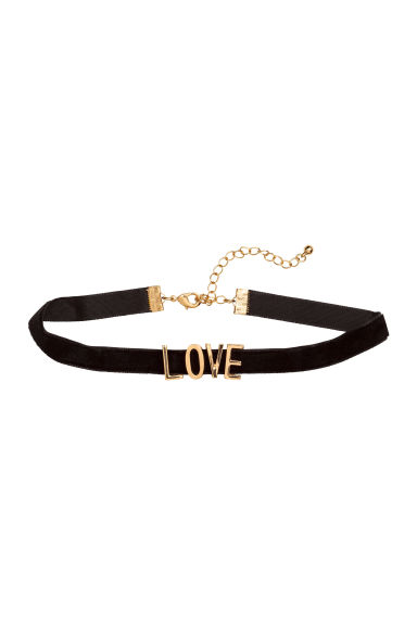 Velvet choker - Gold/Love - Ladies | H&M 1