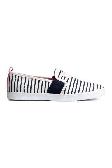 Striped slip-on trainers - White/Dark blue/Striped - Kids | H&M 1