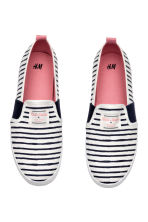 Striped slip-on trainers - White/Dark blue/Striped - Kids | H&M 2