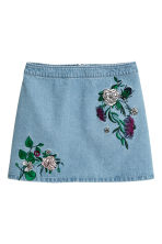 Embroidered denim skirt - Denim blue/Embroidery - Ladies | H&M 2