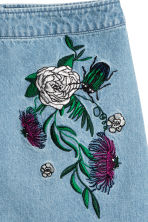 Embroidered denim skirt - Denim blue/Embroidery - Ladies | H&M 4