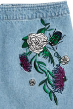 Embroidered denim skirt - Denim blue/Embroidery - Ladies | H&M 3