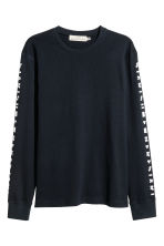 Long-sleeved T-shirt - Dark blue - Men | H&M CN 1