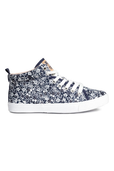 Cotton hi-top trainers - Dark blue/Floral - Kids | H&M 1