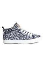 Cotton hi-top trainers - Dark blue/Floral - Kids | H&M CN 1