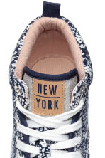 Cotton hi-top trainers - Dark blue/Floral - Kids | H&M CN 3