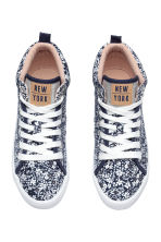 Cotton hi-top trainers - Dark blue/Floral - Kids | H&M CN 2