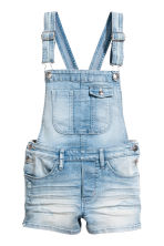 Denim dungaree shorts - Light denim blue - Kids | H&M 2