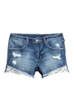 Denim shorts with lace - Denim blue -  | H&M 2