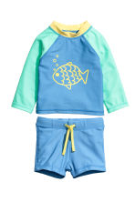 UPF 50泳衣套装 - Blue/Fish - Kids | H&M CN 1