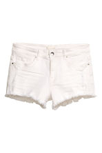 Worn denim shorts - White denim - Ladies | H&M 2