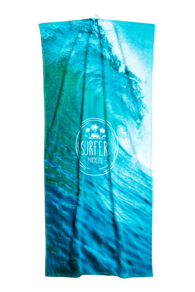 Photo-print bath towel  - Turquoise/Waves - Home All | H&M CN 1