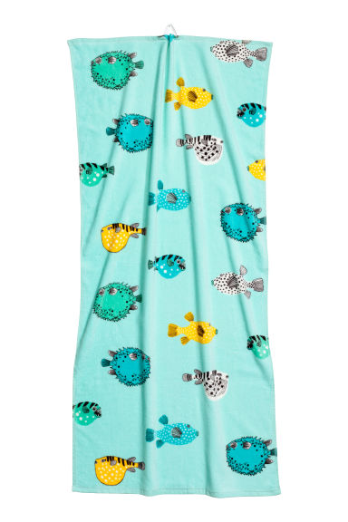 Patterned bath towel - Mint/Fish - Home All | H&M CN 1