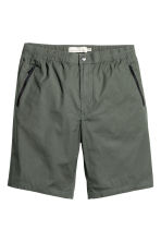 Knee-length poplin shorts - Dark khaki green - Men | H&M CN 2