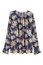 Long-sleeved blouse - Dark blue/Floral - Ladies | H&M CN 2