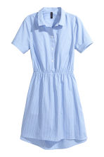 Short-sleeved cotton dress - Blue/Narrow striped -  | H&M 2