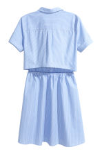 Short-sleeved cotton dress - Blue/Narrow striped -  | H&M 3