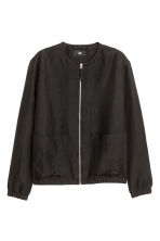 Linen-blend bomber jacket - Black - Men | H&M CN 2