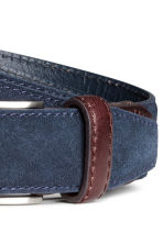 Narrow suede belt - Dark blue - Men | H&M CN 3