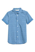 Short-sleeved easy-iron shirt - Blue/Spotted -  | H&M CN 2