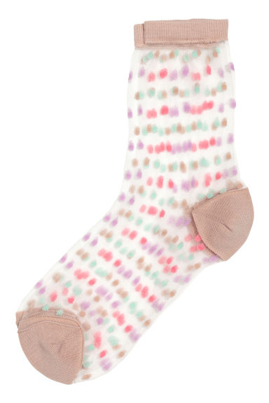 Thin textured socks - Beige/Spotted - Ladies | H&M 1