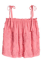 Embroidered top - Pink/Floral - Ladies | H&M CN 2